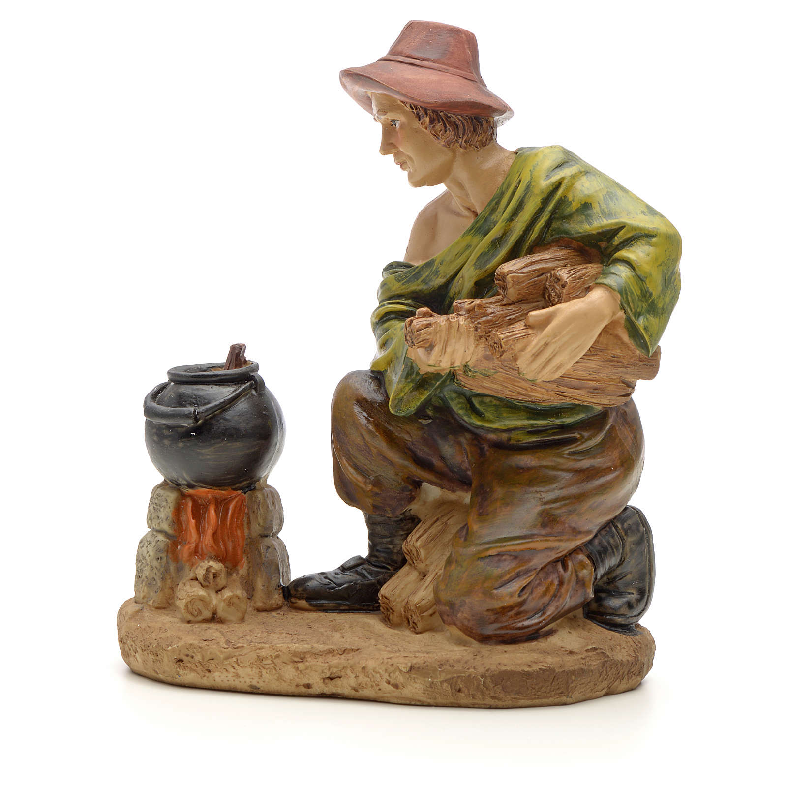 Woodsman with fire figurine in resin for nativities of 20cm 3