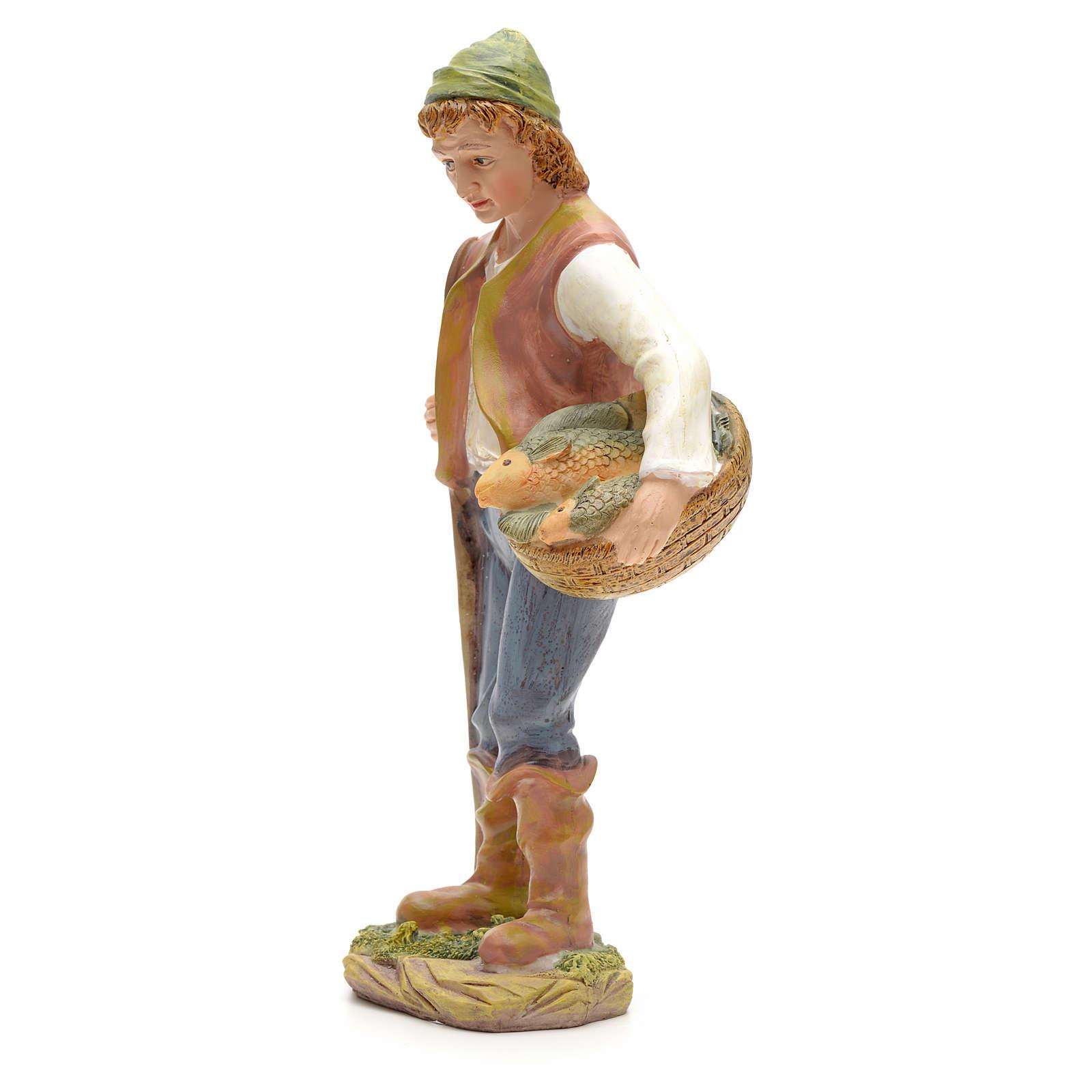 Nativity figurine, fisherman with basket of fish 21cm 3
