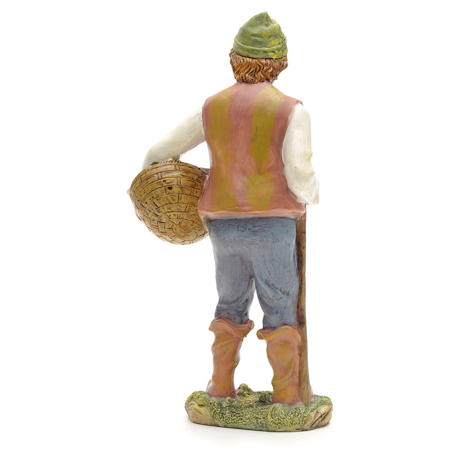 Pastore con cesta di pesci 21 cm 3