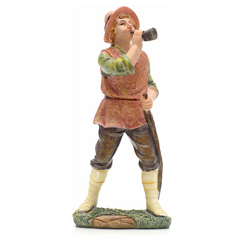 Nativity figurine, shepherd with horn 21cm 1
