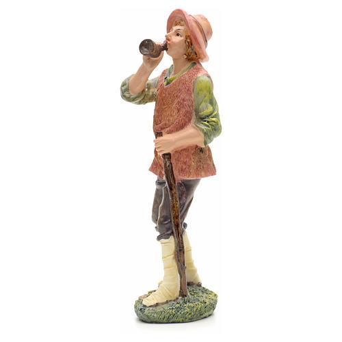 Nativity figurine, shepherd with horn 21cm 2