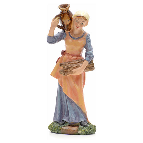 Nativity figurine, girl with amphora and wood 21cm 1