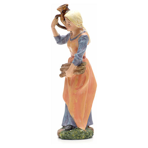 Nativity figurine, girl with amphora and wood 21cm 2