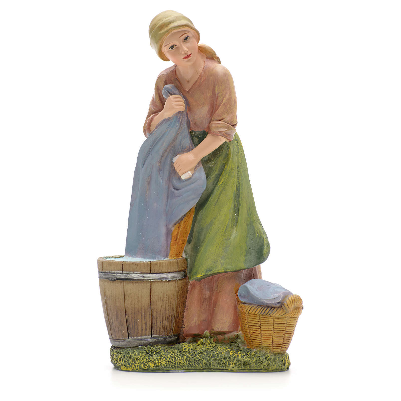 Woman washing clothes figurine in resin for nativities of 21cm 3