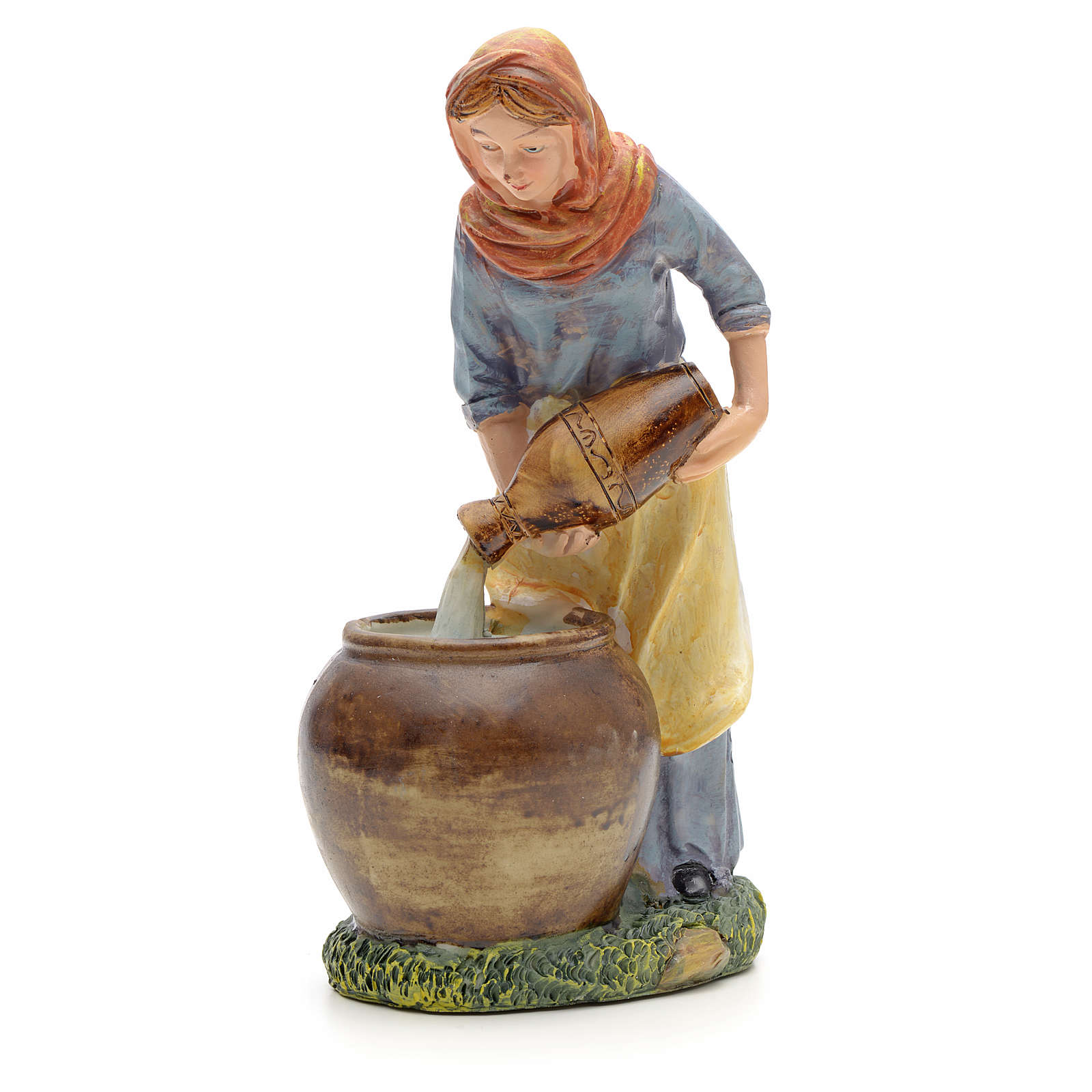 Woman pouring water figurine in resin for nativities of 21cm 3