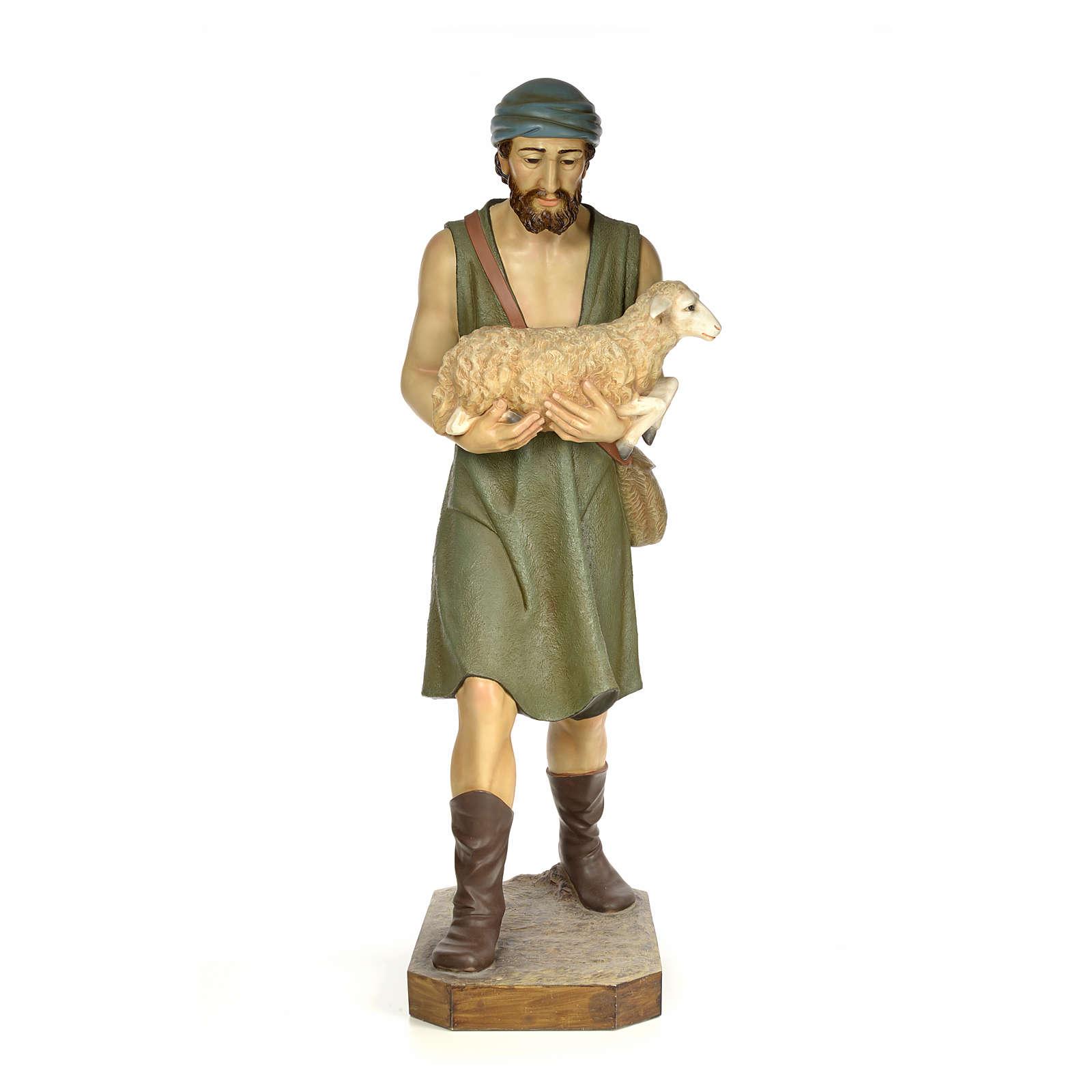 Nativity figurine wood pulp, shepherd with sheep, 160cm (antique 3