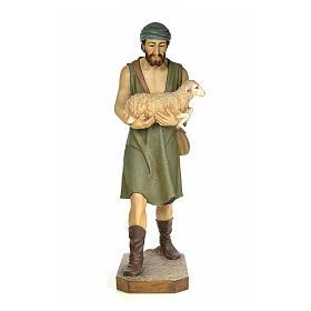 Nativity figurine wood pulp, shepherd with sheep, 160cm (antique s1