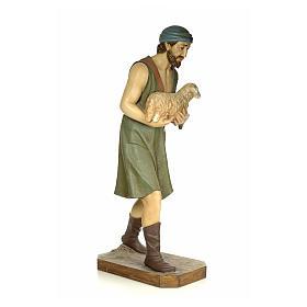 Nativity figurine wood pulp, shepherd with sheep, 160cm (antique s4