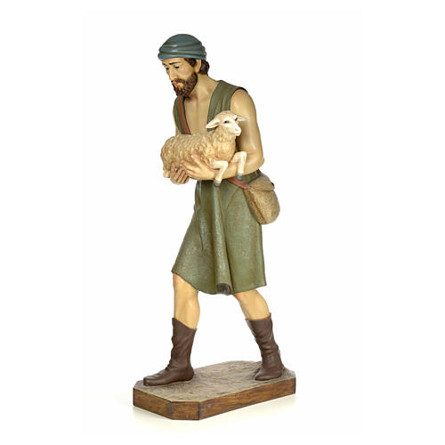 Nativity figurine wood pulp, shepherd with sheep, 160cm (antique 2