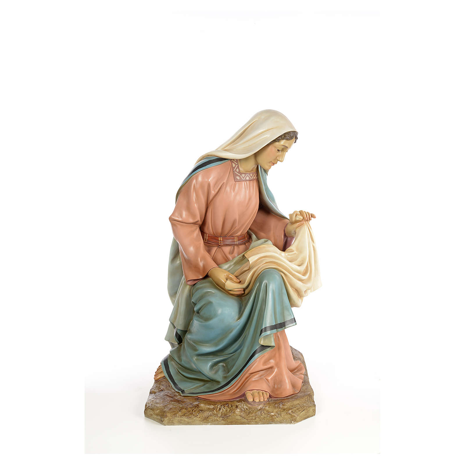 Vierge Marie 160cm pâte à bois finition élégante 3