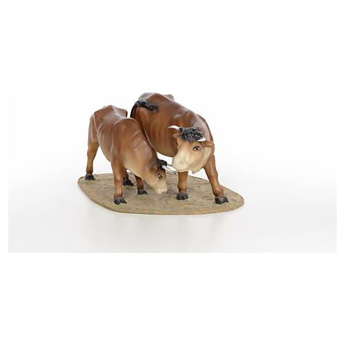 Mucca e vitello 20 cm pasta di legno dec. fine 6