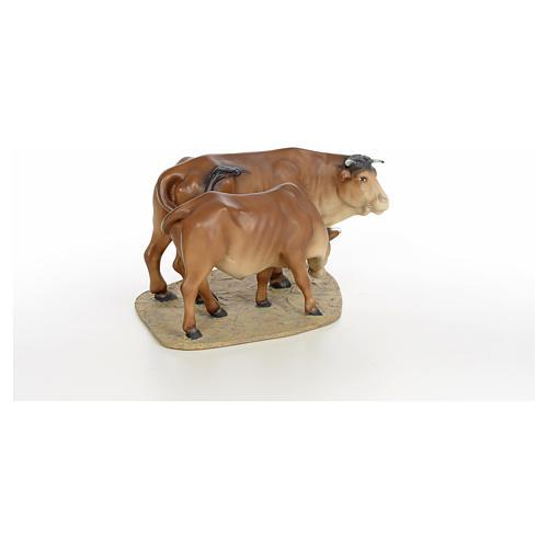 Mucca e vitello 20 cm pasta di legno dec. fine 8