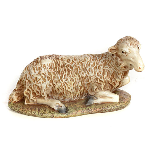 Agnello seduto 30 cm pasta di legno dec. anticata 1