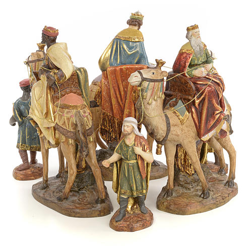 Nativity figurine wood pulp, 3 Wise Kings on camel, 20cm (extra 1