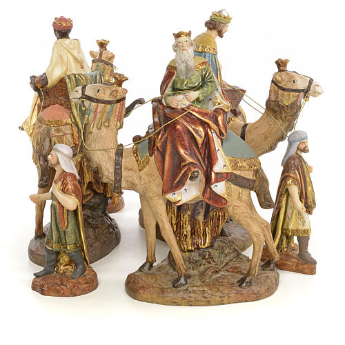 Nativity figurine wood pulp, 3 Wise Kings on camel, 20cm (extra 2