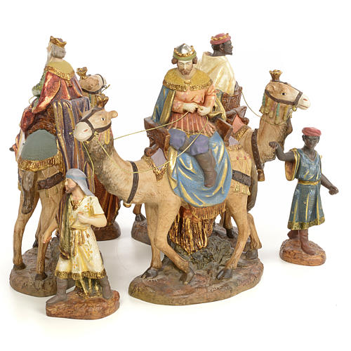 Nativity figurine wood pulp, 3 Wise Kings on camel, 20cm (extra 3