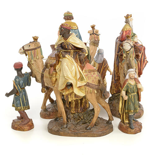 Nativity figurine wood pulp, 3 Wise Kings on camel, 20cm (extra 4