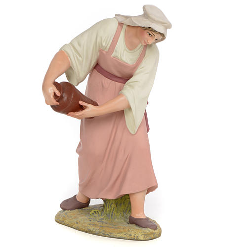 Nativity figurine wood pulp shepherdess with amphora, 30cm (fine 1