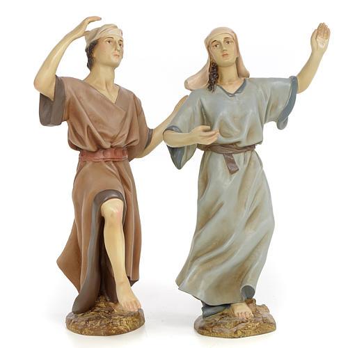 Coppia danzatori 30 cm pasta di legno dec. anticata 1