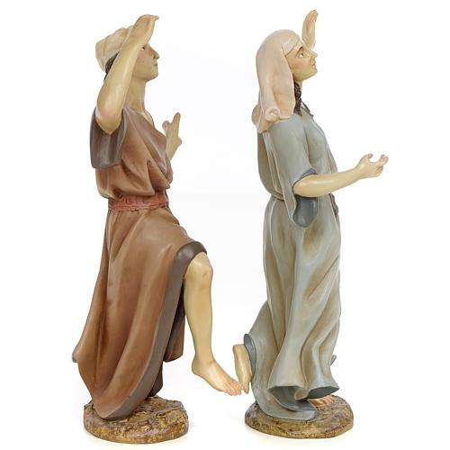 Coppia danzatori 30 cm pasta di legno dec. anticata 2
