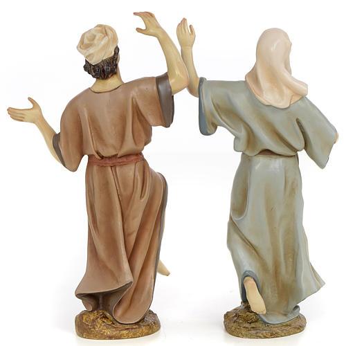 Coppia danzatori 30 cm pasta di legno dec. anticata 3