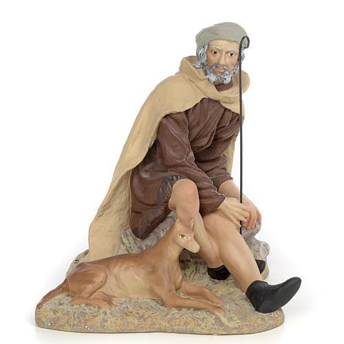 Pastore con cane 30 cm pasta di legno dec. fine 1