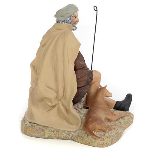 Pastore con cane 30 cm pasta di legno dec. fine 3