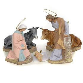 Sainte Famille 5 figurines pâte à bois 20 cm finition raffinée s1