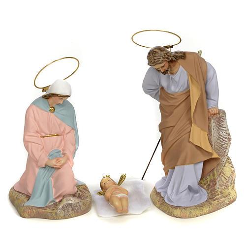 Sainte Famille 5 figurines pâte à bois 20 cm finition raffinée 2