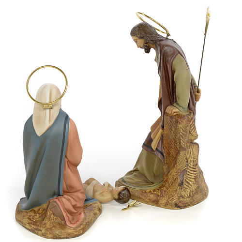 Sainte Famille 3 figurines pâte à bois 20 cm finition élégante 3