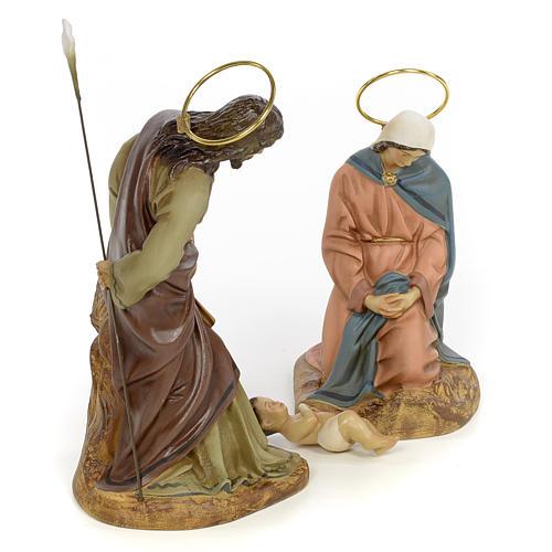 Sainte Famille 3 figurines pâte à bois 20 cm finition élégante 4