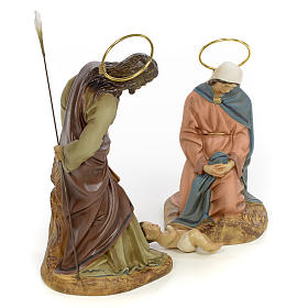 Nativity scene in wood pulp 20cm elegant decoration s4