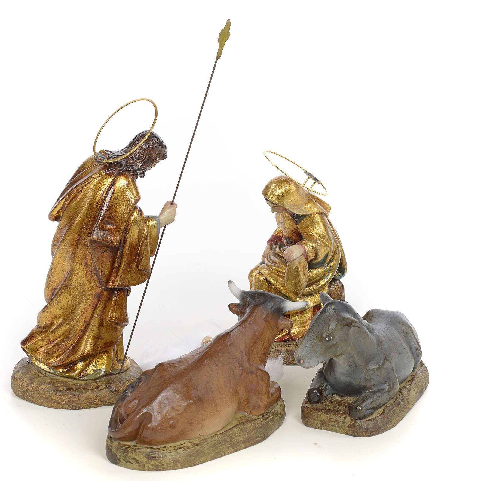 Sainte Famille pâte à bois 15 cm finition polychrome 5 pcs 3