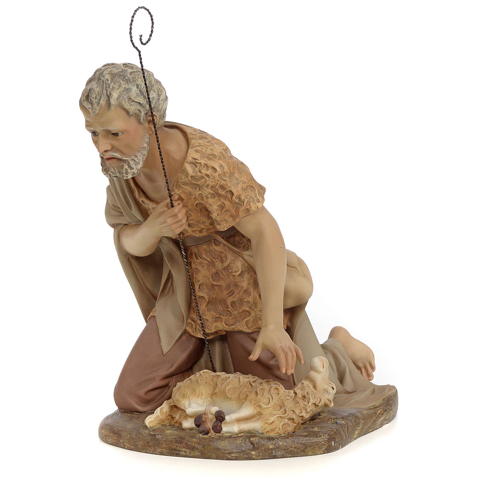 Pastore adorazione 50 cm pasta di legno dec. anticata 3
