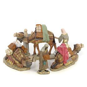 Santons crèche: 3 Rois Mages et chameaux 12cm pâte à bois fine