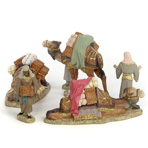 3 Rois Mages et chameaux 12cm pâte à bois fine 2