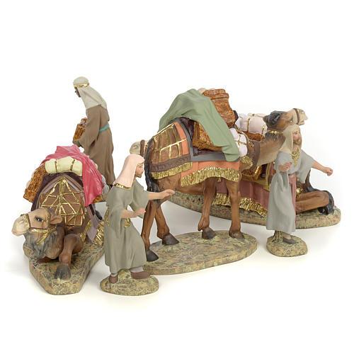 3 Rois Mages et chameaux 12cm pâte à bois fine 3