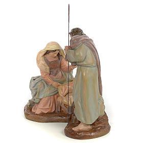 Nativity scene in wood pulp 20cm antique finish s2