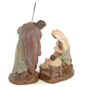 Nativity scene in wood pulp 20cm antique finish s3