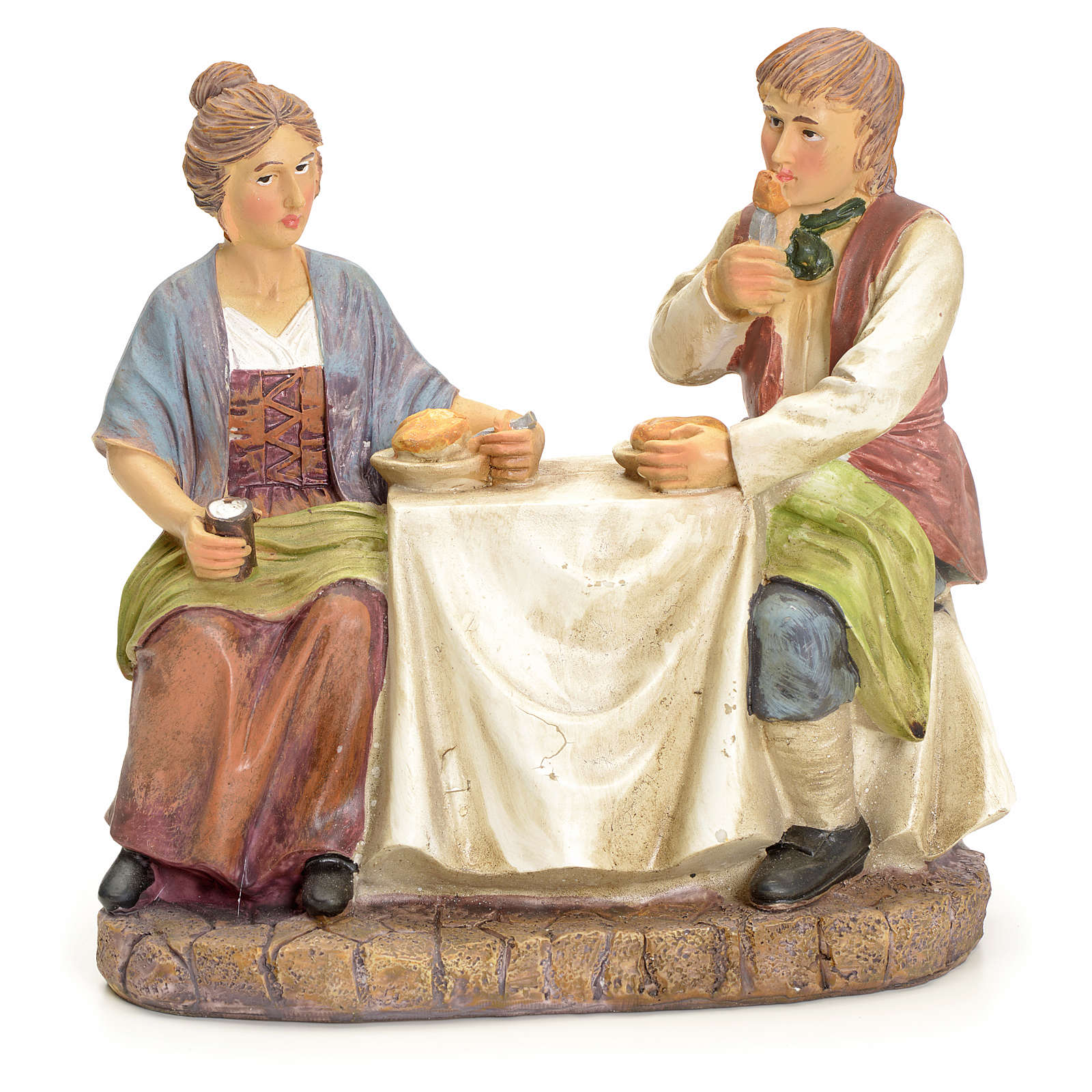 Couple eating at the table, for nativities of 20cm 3