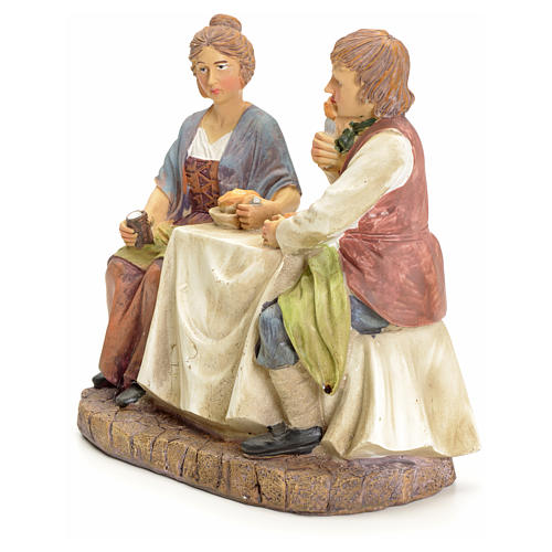 Couple eating at the table, for nativities of 20cm 2