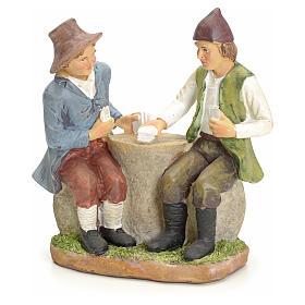 Jugadores de carta en la mesa pesebre 20cm s1