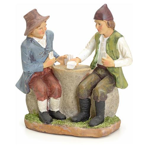 Giocatori di carte al tavolo presepe 20 cm 1