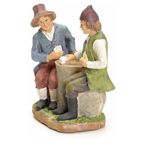 Giocatori di carte al tavolo presepe 20 cm 2