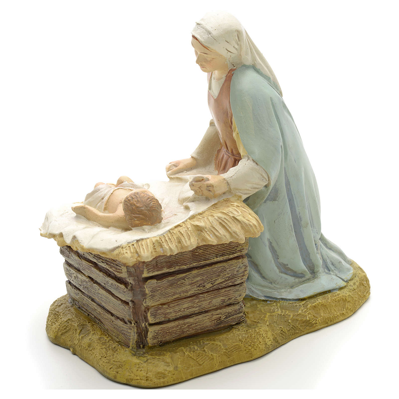 Our Lady with baby in painted resin 12cm affordable Landi Collection 3
