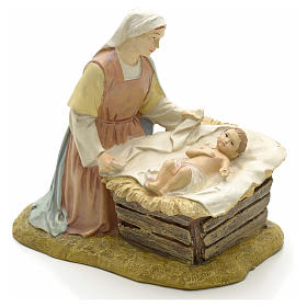 Our Lady with baby in painted resin 12cm affordable Landi Collection s1