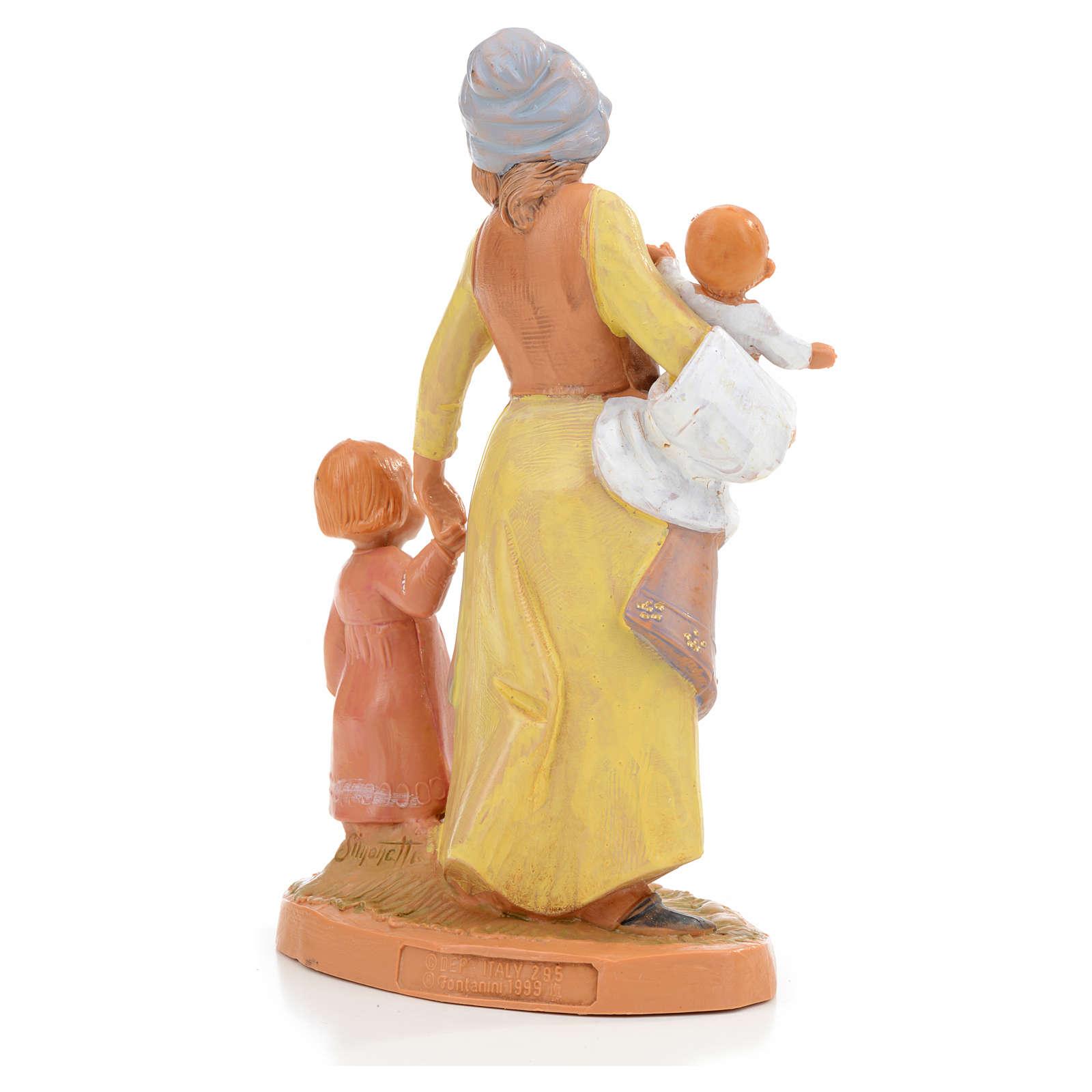 Pastora con 2 niños Fontanini 12cm 3