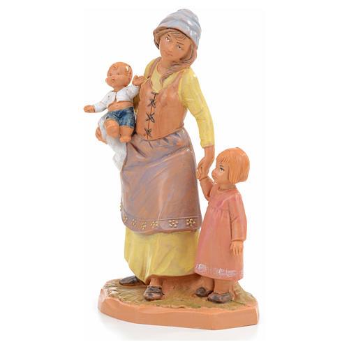 Pastora con 2 niños Fontanini 12cm 2