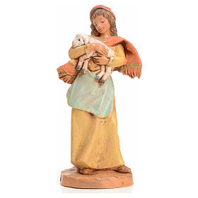 Statue per presepi: Donna con pecorella 9,5 cm Fontanini