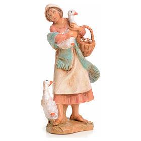 Donna con oca 9,5 cm Fontanini s1